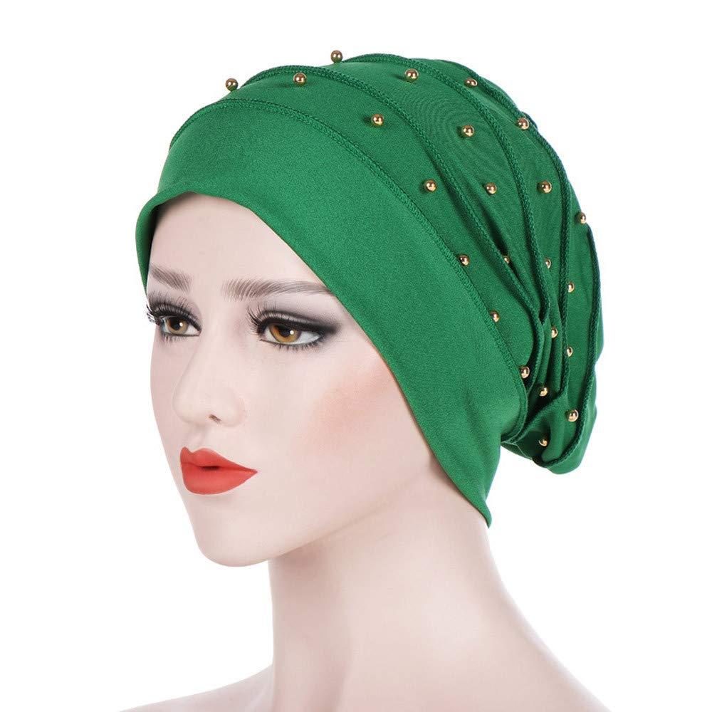Chapeau r/étro YUYOUG Femmes Perles Inde Chapeau /À Volants Musulmans Cancer Chemo /Écharpe Turban Wrap Cap Chapeaux Vintage