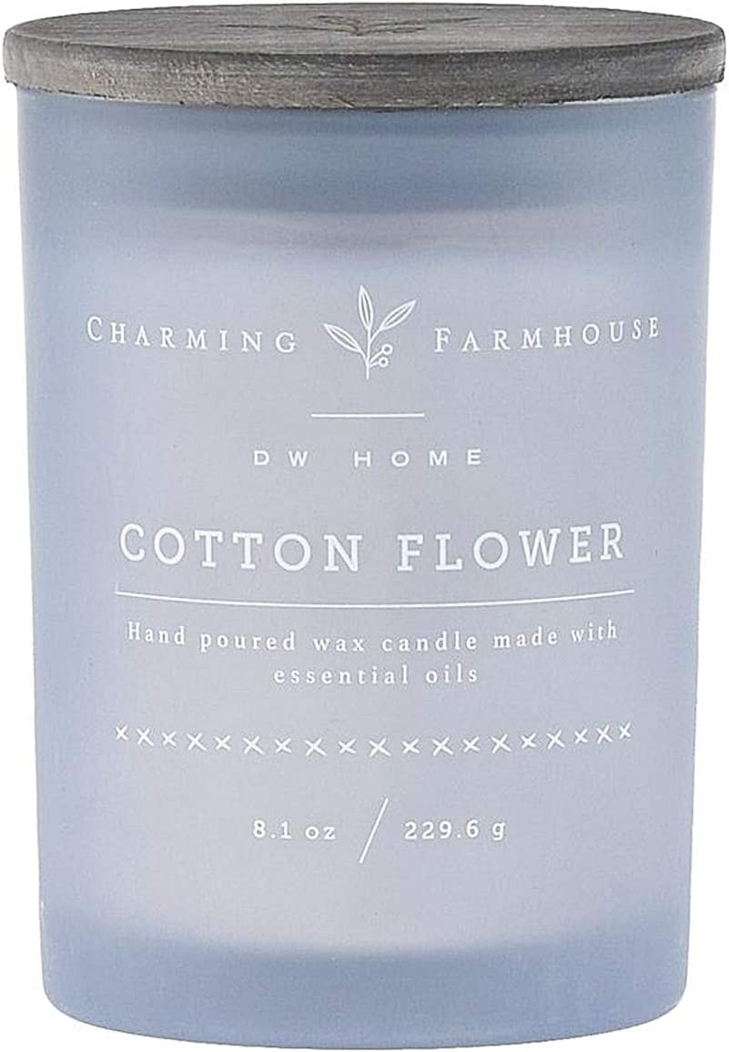 DW Home Charming Farmhouse Cotton Flowers Scented Medium Single Wood Wick Candle