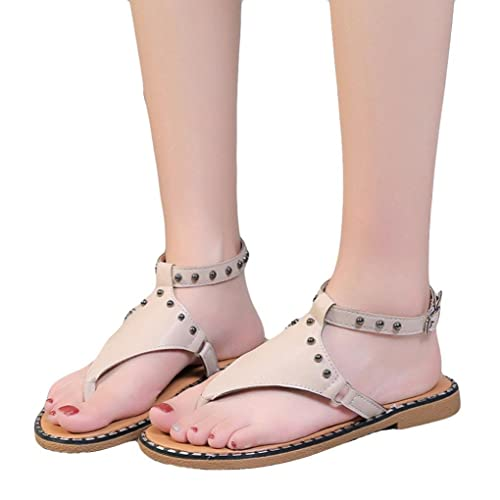 Amazon.com | RAISINGTOP Sandals Women Leather Flats Fashion Shoes Dressy Thong Sandalias De Mujer Zapatillas Que No Resbalen Verano Black | Flats