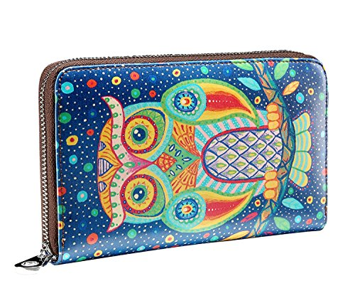 JSLOVE Women's Leather Cute Owl Print Zipper Around Wallet Collection(blue)