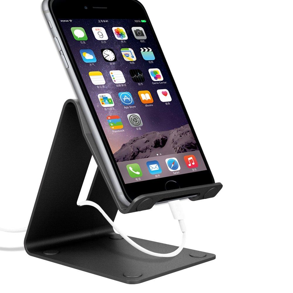 Ifecco Portátil de aluminio de soporte sólido manos libres móvil inteligente titular del teléfono celular pantalla de la tableta para iPhone 7 iPod iPad Samsung y otros teléfonos inteligentes (nuevo negro)