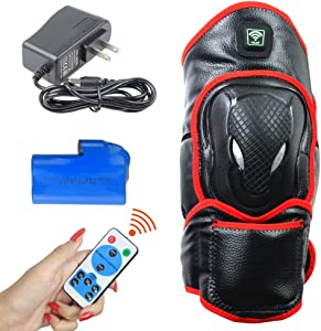 CREATRILL Portable Heated Knee Brace Wrap Support with Remote Control, Far Infrared Heating Pad w/Rechargeable 7.4V 2600mah Battery, Moist Heat for Knee Pain Relief, Stiff, Injury, Cramps, Arthritis