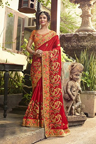 Da Facioun Indian Sarees For Women Wedding Designer Party Wear Traditional Sari. Da Facioun Saris Indiens Pour Les Femmes Portent Partie Concepteur De Mariage Sari Traditionnel. Red (tomato Red) 10 Rouge (rouge De La Tomate) 10