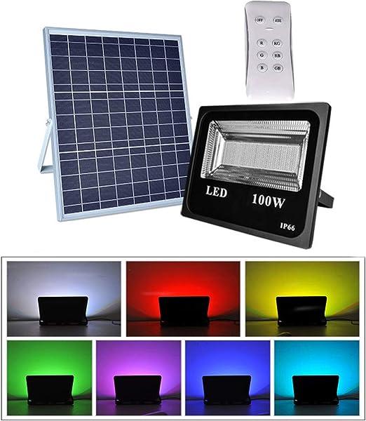 RGB Foco Solar LED 100W, 12000LM 216LED Foco Exterior con Mando a ...