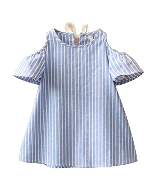 Vestido De Rayas Para Niñas Manga Corta Traje De Fiesta Verano Vestidos De Princesa Azul 15