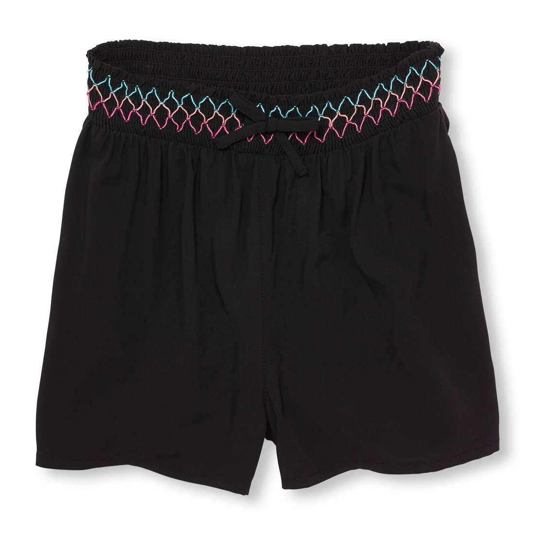 The Children's Place Big Girls' Embroidered Woven Shorts, Black 01150, S (5/6)