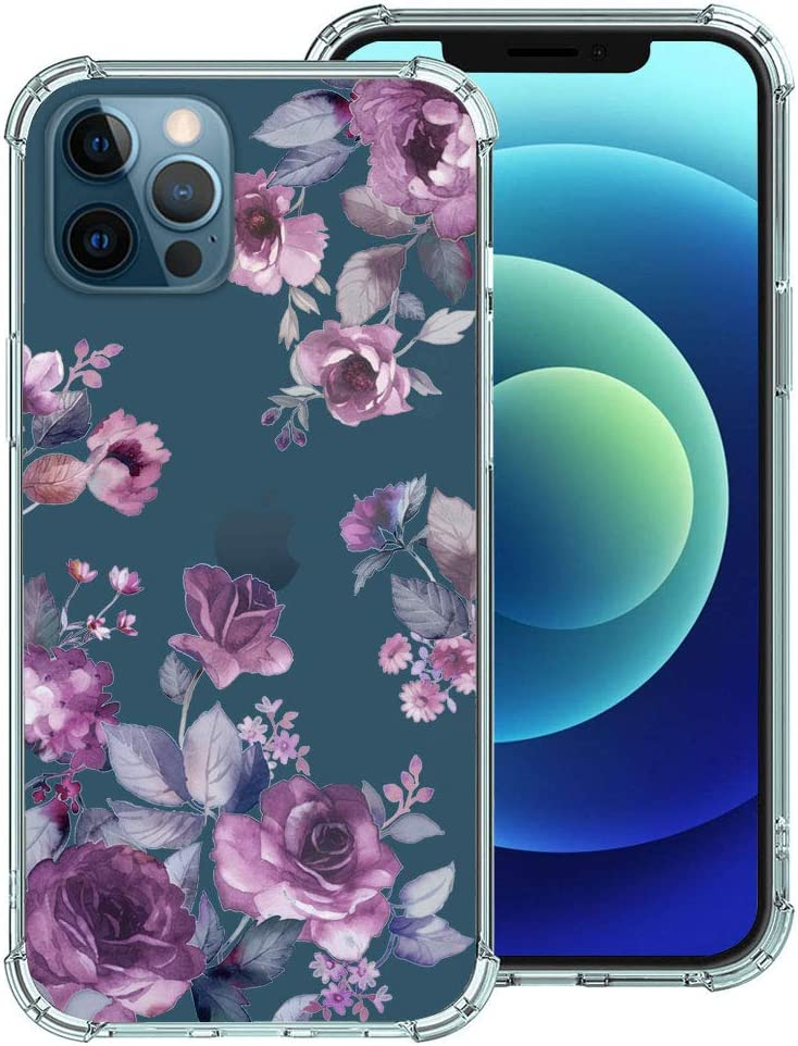 Hepix Competiable with iPhone 12/12 Pro Case 6.1 inch 2020, Purple Blossoms Floral Design Clear Case, Soft TPU Stylish Slim Thin Cute Raised Lips Anti-Scratch Shockproof Protective Case
