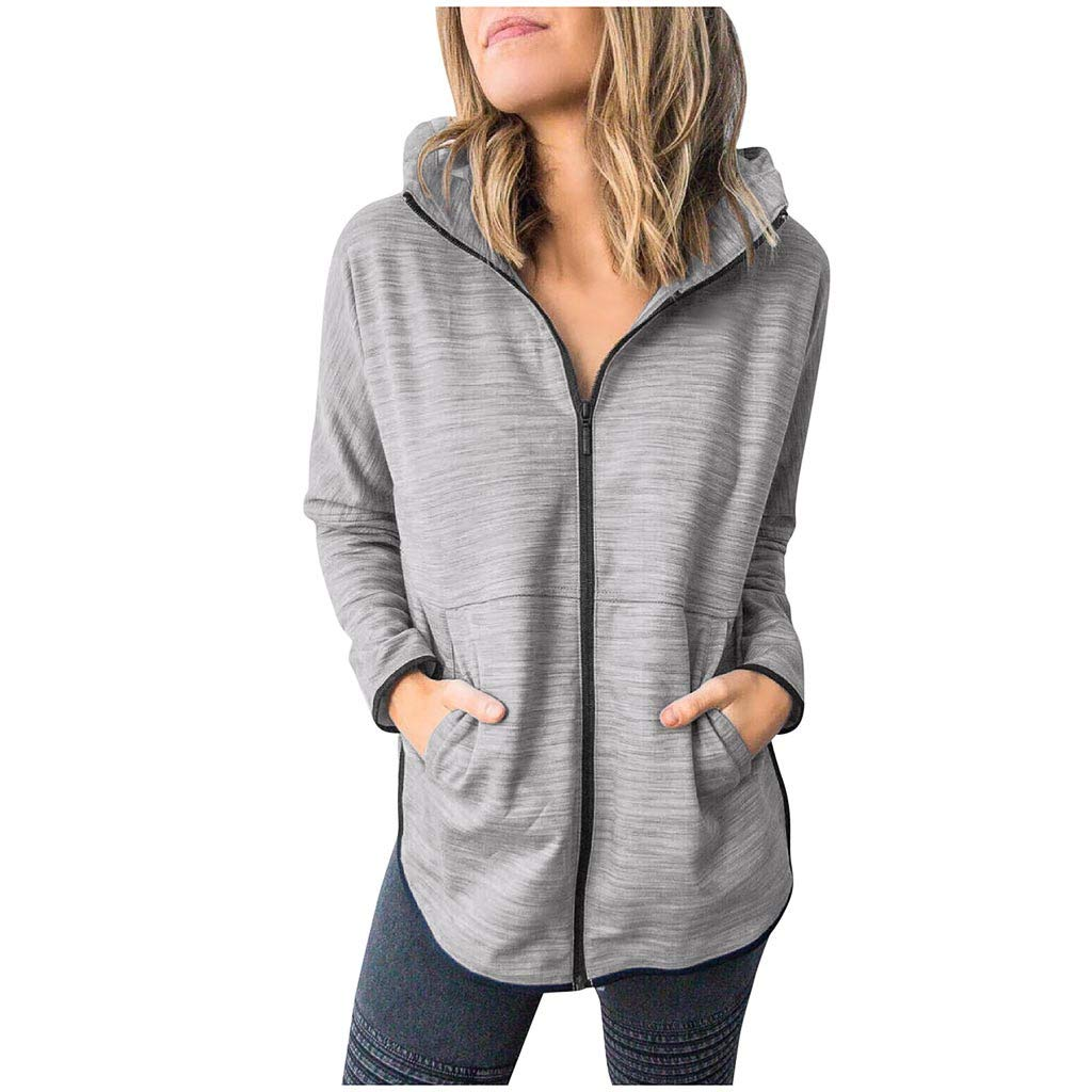 〓COOlCCI〓Hoodies for Women Long Sleeve Full Zip Up Thin Jacket Warm Lightweight Sweatshirts Cardigans with Pocket Coats Gray by COOlCCI_Womens Clothing