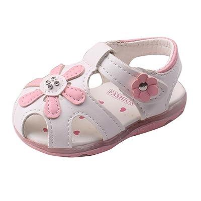 193ec83ca313d Auxma Fleurs creuses sandales à semelle souple princesse chaussures bébé  chaussures d été Firstwalker Illuminated (6-12 M
