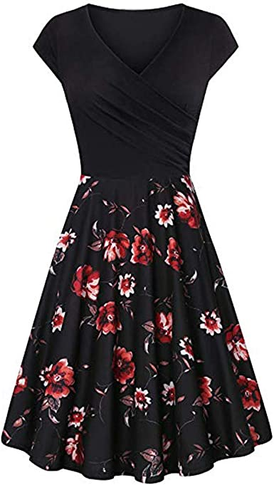 DIOMOR Womens Chiffon Elegant V Neck Floral Shorts Sleeve Mini Dress Prom Party Ruffle Hem Bodycon A Line Dresses