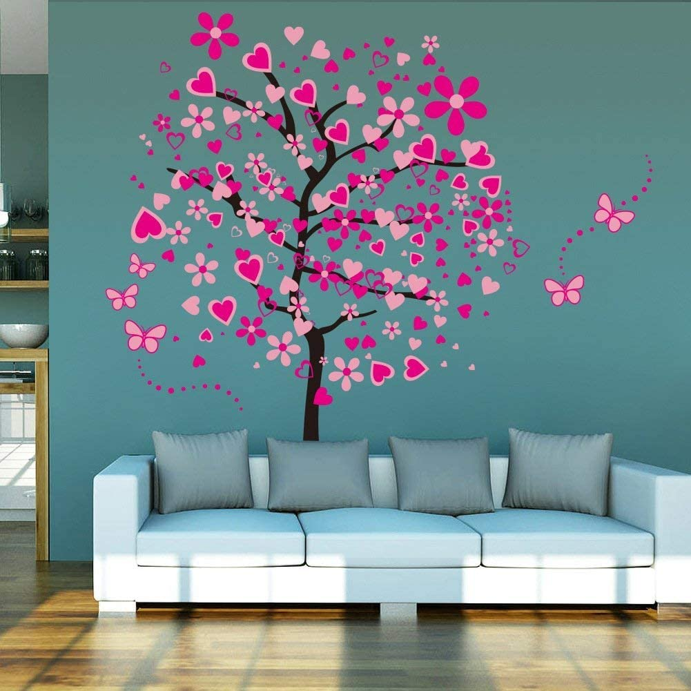 Elecmotive Huge Size Cartoon Heart Tree Butterfly Wall Decals Removable Wall Decor Decorative Painting Supplies Wall Treatments Stickers For Girls Kids Living Room Bedroom Home Improvement