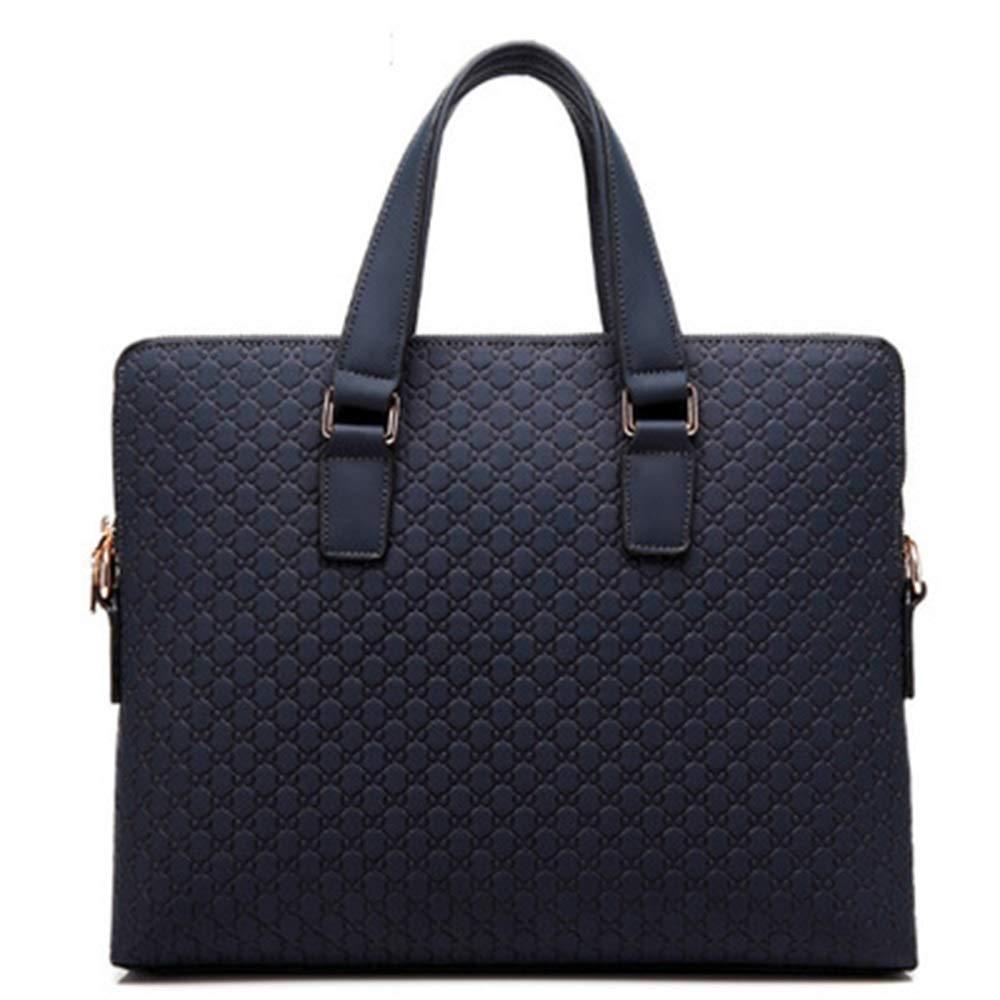 Bert100 仕事のために通勤を求めている男性のビジネスバッグ仕事ビジネスレジャー旅行ブルーブラッククラシックビジネスバッグはA4ファイルラップトップを置くことができます うまく設計された (Color : Blue) B07QV54BPM