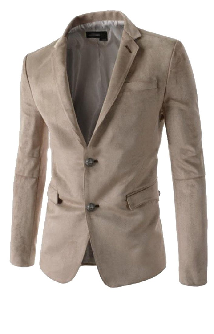 SportsX Mens Cut Out Pockets Slim Lapel Pure Color Velvet Blazer Jackets
