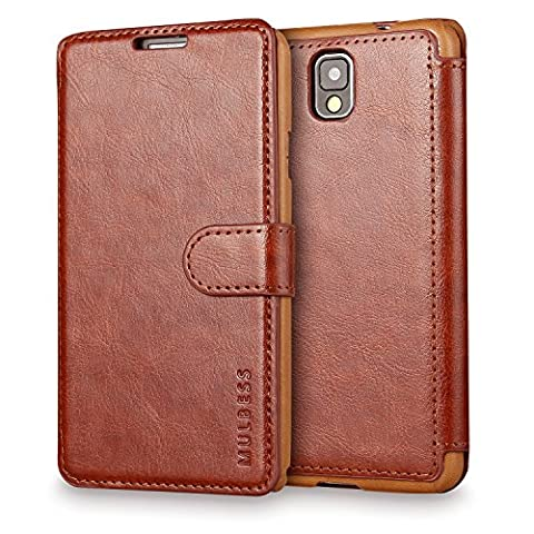 Galaxy Note 3 Case Wallet,Mulbess [Layered Dandy][Vintage Series][Coffee Brown] - [Ultra Slim][Wallet Case] - Leather Flip Cover With Credit Card Slot for Samsung Galaxy Note 3 (Galaxy 3 Phone Cases Flip Cover)