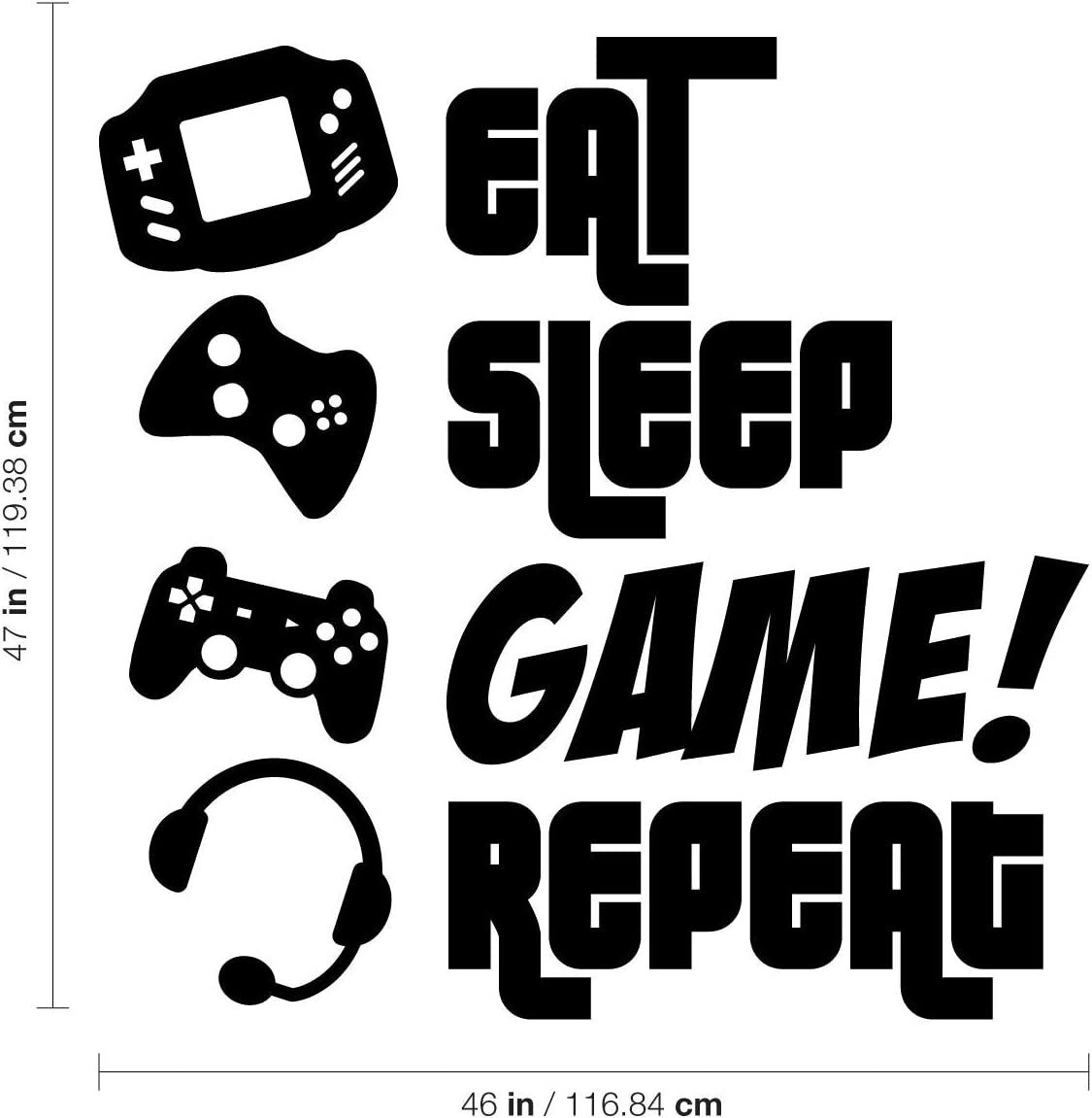 Eat Sleep Game Repeat Sticker PS5 XBOX PS4 Gaming Wall Stickers Decals Wall Art