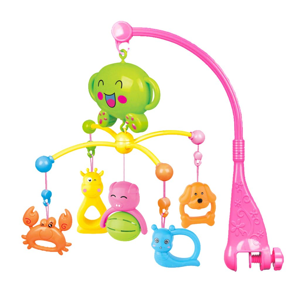 Homyl Baby Musical Crib Mobile with Hanging Animal, Newborn Bed Bell Toys - Pink