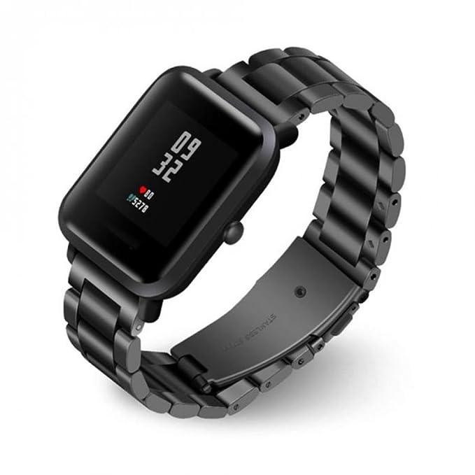 Correa de repuesto elegante para reloj inteligente Xiaomi Huami Amazfit Bip, correa de acero inoxidable Y56 para Xiaomi Huami Amazfit Bip, 175 mm., ...