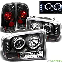 For 1999-2004 Ford F250 F350 Super Duty Halo LED Projector Headlights + Tail Lights Set 2000 2001 2002 2003