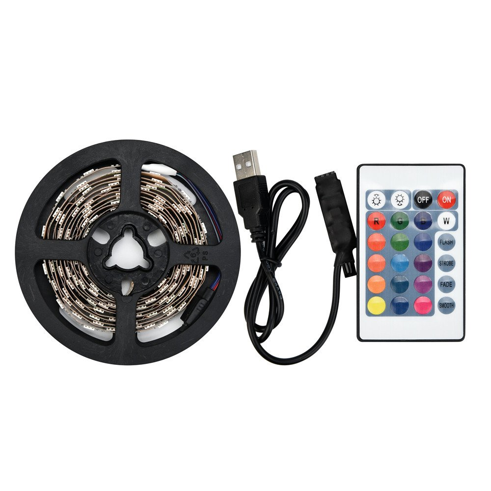 Nesix LED Light Strip, Rope String Light, 50-200CM USB LED Strip Light TV Back Lamp 5050RGB Colour Changing+Remote Control (50CM)