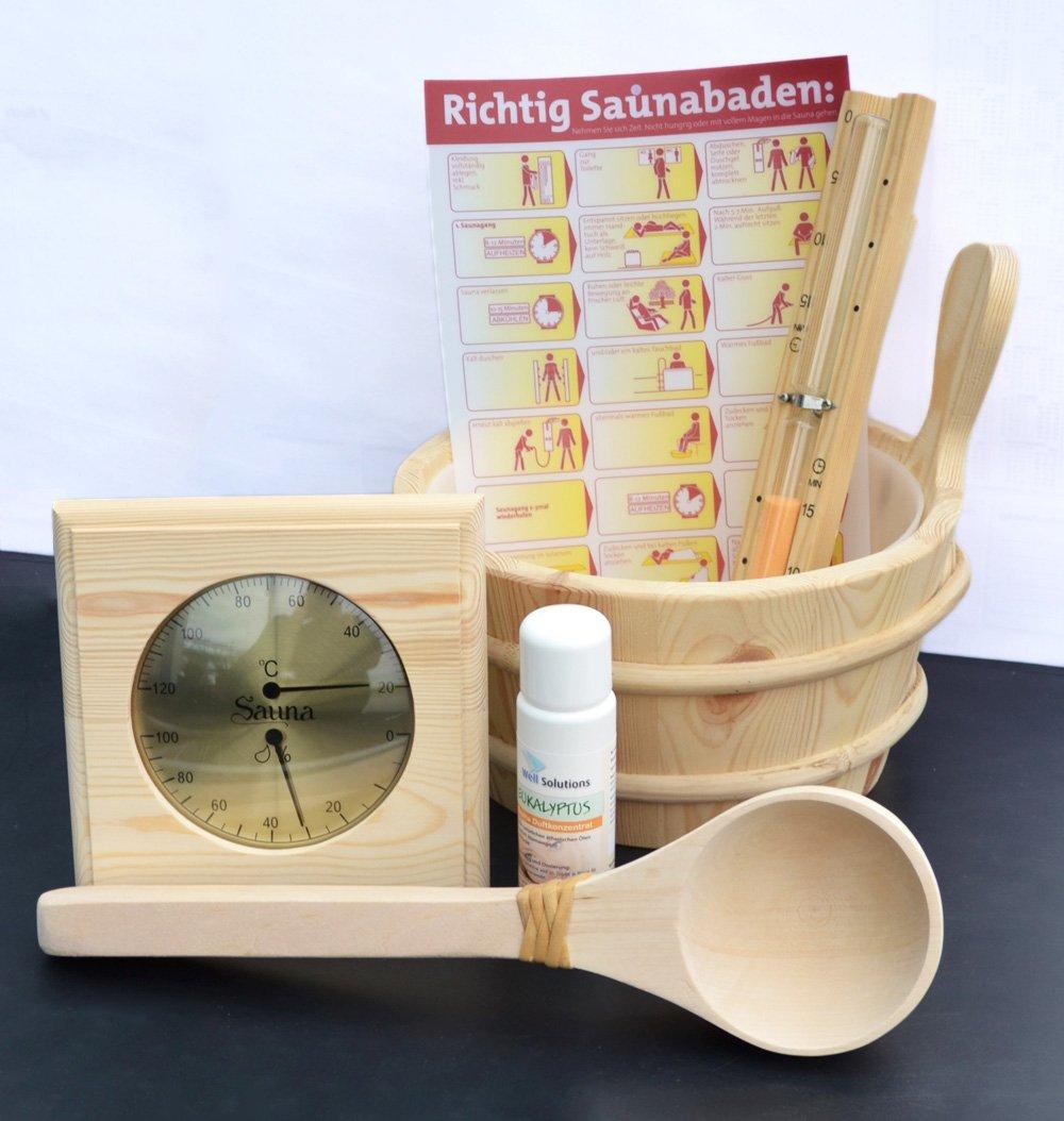 Well Solutions/® 7 Tlg Sauna Aufguss Set Zubeh/ör K/übel Set