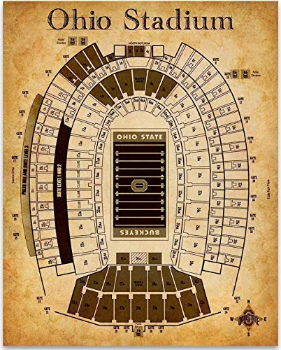 Ohio Stadium Football Seating Chart- 11x14 Unframed Art Print - Great Sports Bar Decor and Gift Under $15 for Football - Print Stadium Personalized