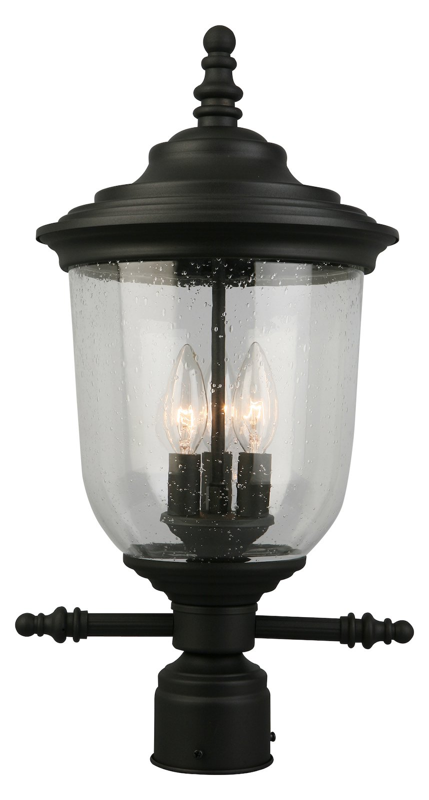 3X60W Outdoor Post Light W/ Matte Black Finish & Clear Seeded Glass