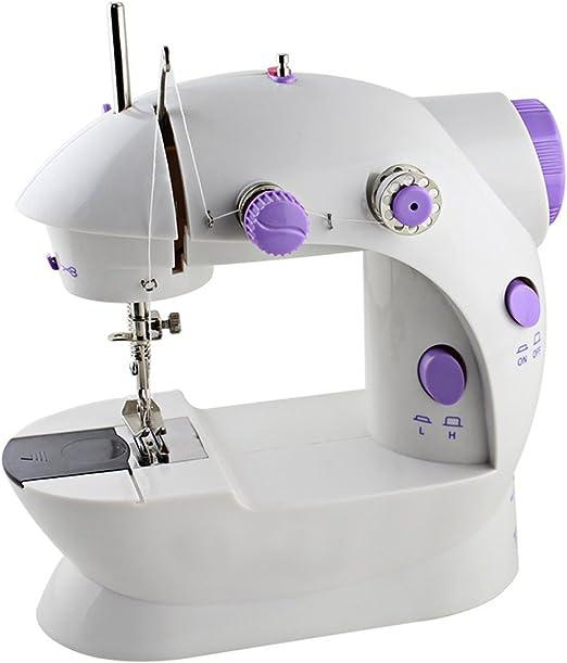 Mini máquina de coser portátil (2 velocidades, doble hilo, doble velocidad con luz y cortador): Amazon.es: Hogar