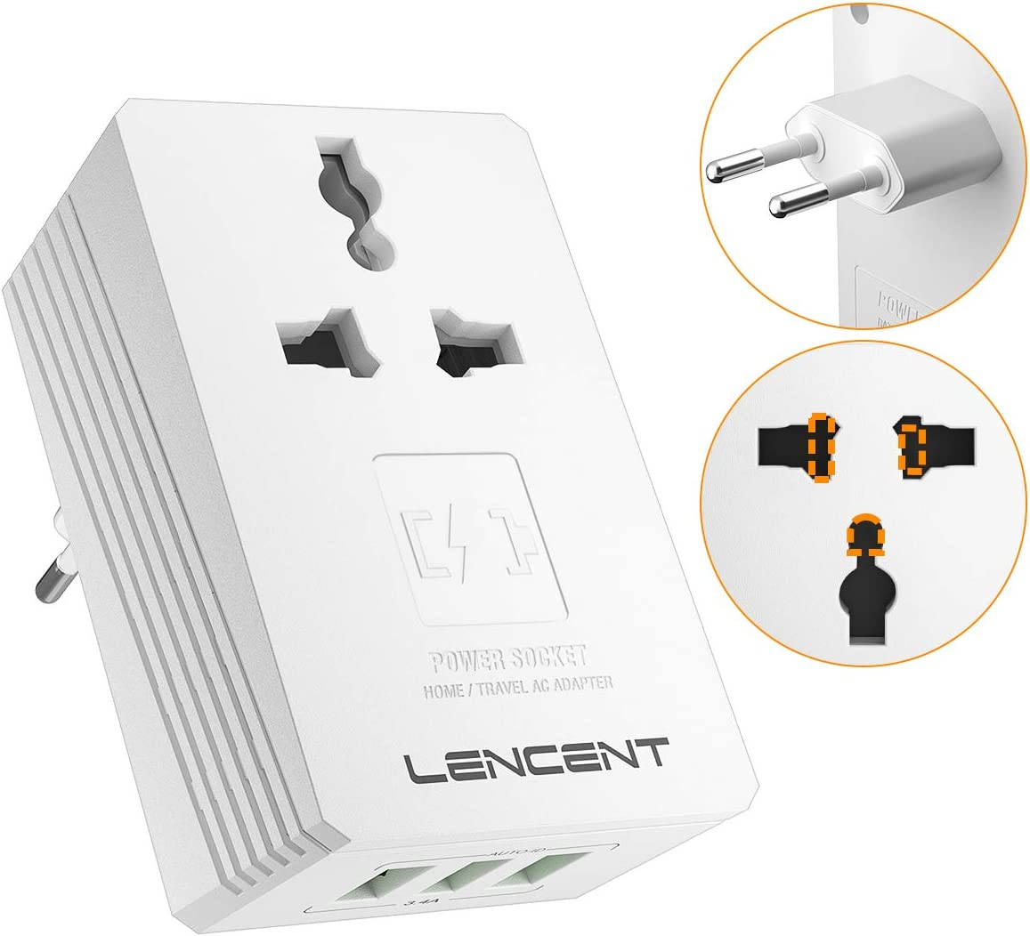 All In One Travel Adapter, LENCENT International Wall Charger with 3 USB Charging Ports,Worldwide AC Power Plug Adapter Type-C for USA EU UK AUS Cell Phone Laptop with 3.4A Smart Power