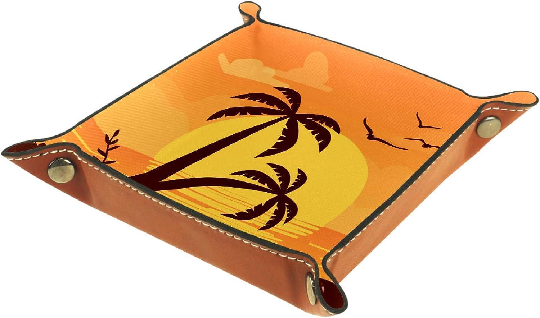 TIKISMILE Bandeja de almacenamiento de palmeras Sunset de piel para pintalabios, organizador de cosméticos, bandeja para el hogar, la oficina, el escritorio, la llave, la placa cuadrada