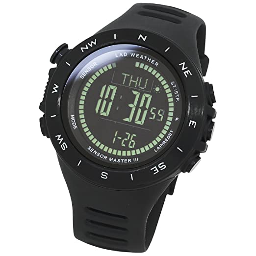 LAD WEATHER Reloj Altímetro Barómetro Brújula Calorías Pronóstico del Tiempo (bksv-BK)