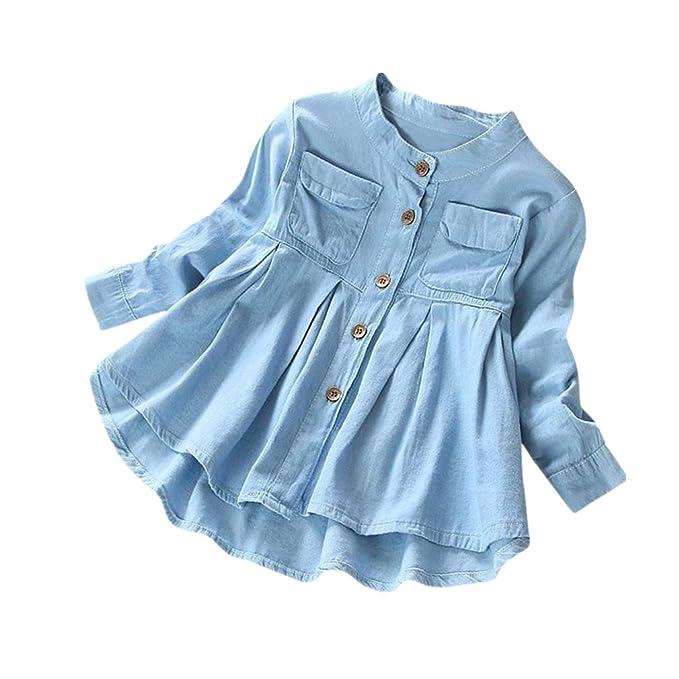 ed37d0a422 UOMOGO® Bambina Blusa Ragazze Vestito Tinta unita Maniche lunghe pulsanti  Camicia di jeans Tenere caldo cappotto Denim T-shirt 3-8 Anni
