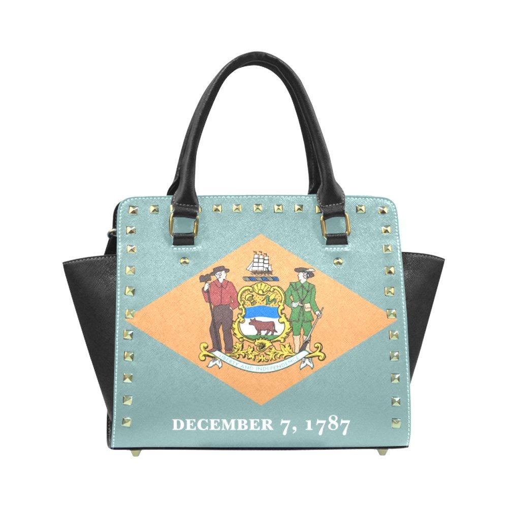 The Flag of Delaware Custom Women's PU Leahter Wings Rivet Shoulder Handbags