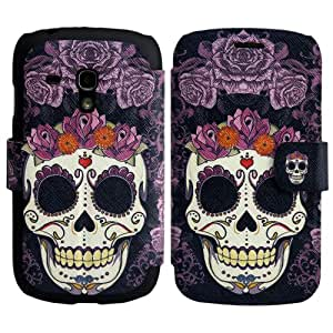 Samsung Galaxy S3 mini i8190 PU-LEATHER FLOWER SKULL Design FLIP stand cover protección-móvil casos Flip bag Cover thematys®
