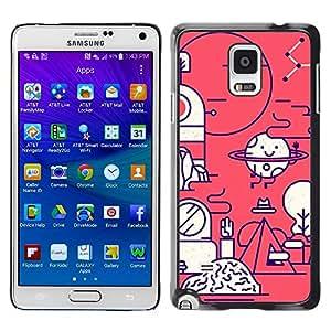 TopCaseStore / la caja del caucho duro de la cubierta de protección de la piel - Happy Biology Scientist Lab - Samsung Galaxy Note 4 SM-N910
