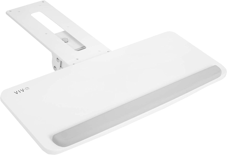 VIVO White Adjustable Computer Keyboard and Mouse Platform Tray Ergonomic Under Table Desk Mount Drawer Underdesk Shelf (MOUNT-KB03W)