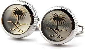 Men Cufflinks Decorated With Silver Sword And Palm Logo