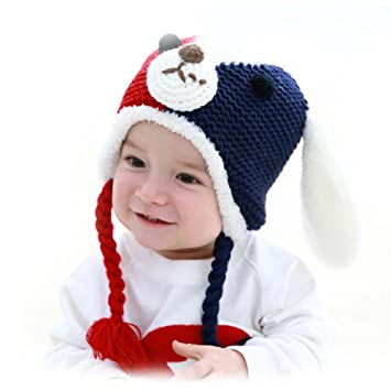 d14ccf532d3 Amazon.com   Gemini Fairy Goodkid Cutest Dog Animal Handmade Ear Flap  Crochet Baby Hats Color Blocking Cap for 6-24 Month Every Angel Baby (Navy  Blue)   ...