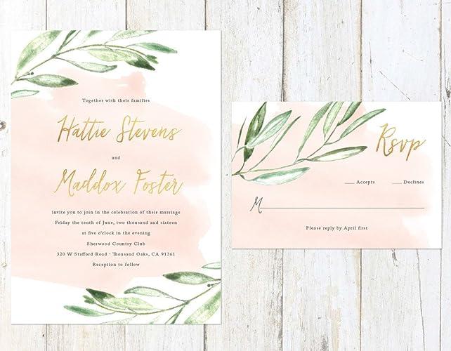 Amazon Com Rustic Watercolor Wedding Invitation Gold And