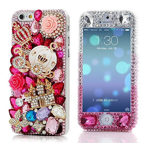 iPhone 6 Plus Bling Case - EVTECH Luxury 3D Sparkle Series Blue Crystal Design Front & Back Snap-on Hard Cover