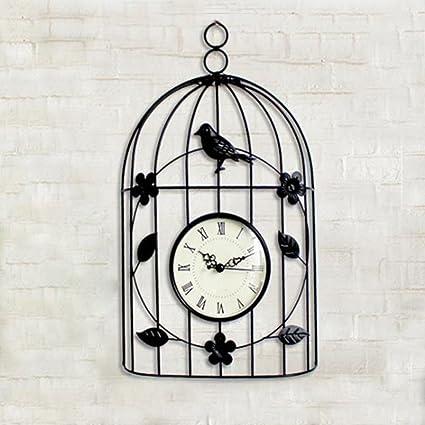 ORPERSIST Reloj de Pared Hierro de Reloj Silenciar Tridimensional Pájaro Jaula Modelado Europea creativos Adornos Salón