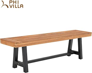 PHI VILLA Outdoor Bench Patio Chair Acacia Wood Dining Picnic Bench, Indoor &Outdoor Furniture,Support 550lbs, Classic Brown and Black