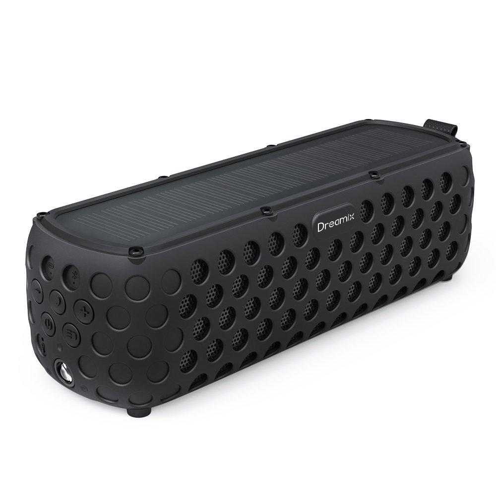 Altoparlante Bluetooth Portatile, Dreamix Diffusori Wireless Esterno Bluetooth 4.0 Solare Casse Resistente spruzzi IP65 HD Stereo Basso superiore Music Box con 30 ore di musica senza interruzioni-Nero