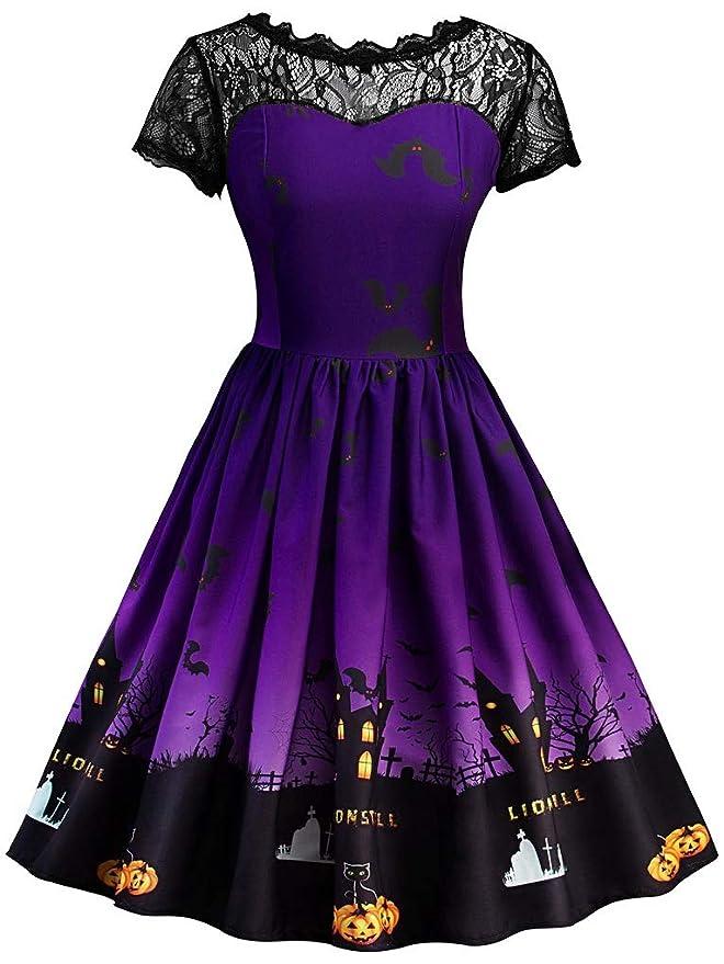 Fenxxxl Women's Halloween Scary Bat Pumpkin Vintage Retro Rockabilly Skater Swing Party Dress F77 Purple M