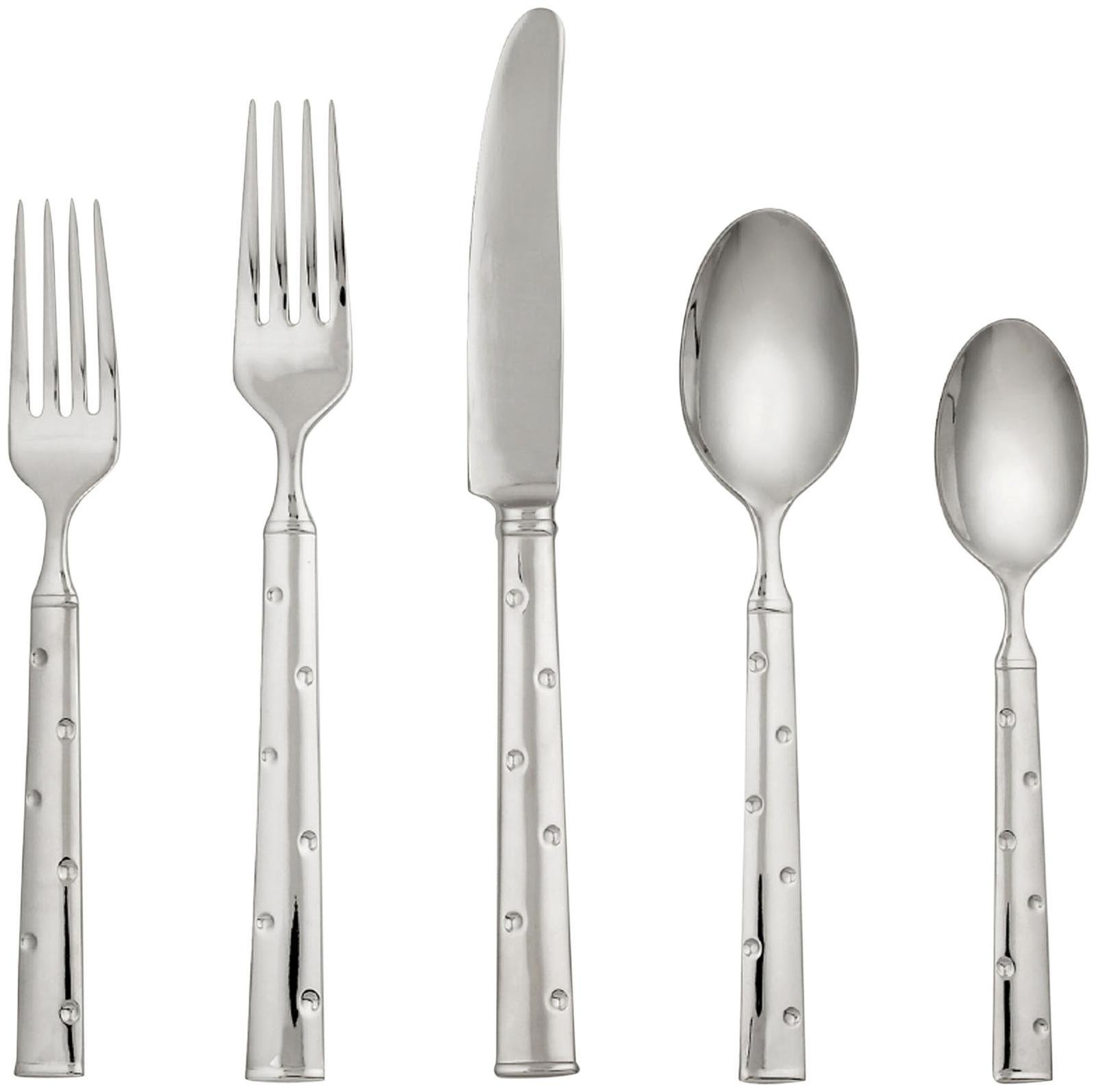 Kate Spade New York 6307441 Larabee Dot 5 Piece Flatware Set, Silver - Crafted of 18/10 Stainless Steel Includes Dinner Fork, Dinner Knife, Salad Fork, Dinner Spoon and Teaspoon Dishwasher Safe - kitchen-tabletop, kitchen-dining-room, flatware - 61YE0VhxijL -