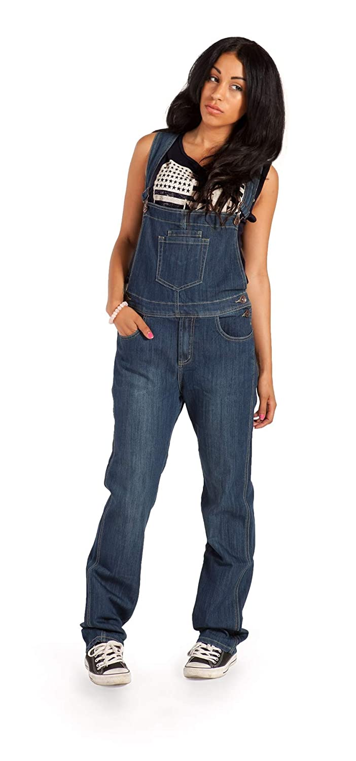 Cindy H Womens Dark Wash Dungarees Regular Fit with Long Leg 33 inch WOM88