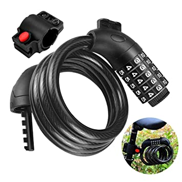 5-digit Combination or Key Bike Lock Steel Cable Bicycle Motorbike Security Lock