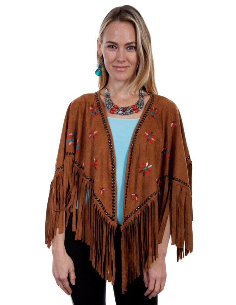 Scully Sweater Womens Cape Feather Embroidery Fringe L Honey HC269 by Scully (Image #1)