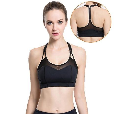 c63babae0e Wgwioo Donne Yoga Sport Reggiseno Elastico Halter Elastico T Back Top Mesh  Soft Coppia Corsa in