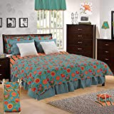 Cotton Tale Designs 100% Cotton Turquoise Blue & Fun Multi Colored Bright Floral & Stripes with Faux Fur Gypsy Twin 5 Piece Reversible Quilt Bedding Set - Girl