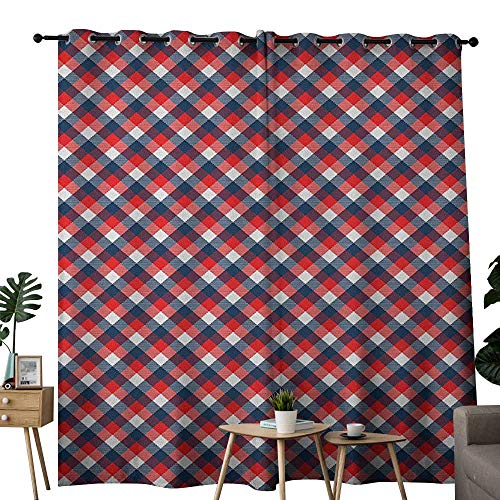 NUOMANAN Kitchen Curtains Plaid,Checkered Gingham with Old Fashioned English Country Striped Squares, Navy Blue Vermilion White,Rod Pocket Drapes Thermal Insulated Panels Home décor - Gingham Basics Top Tab